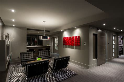 basement brewery bar home theater contemporary