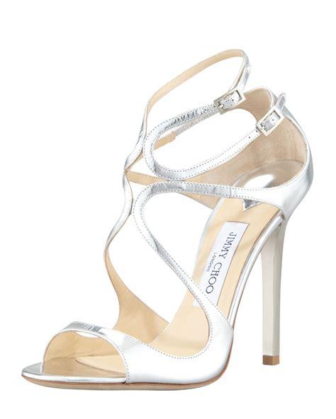 jimmy choo silver sandals jimmy choo womens silver lang metallic strappy sandal wacoz