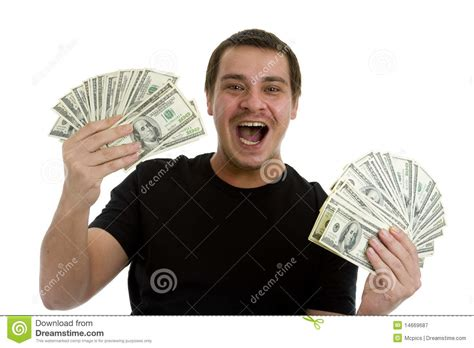 Win Lots Of Money Free - man happy with lots of money stock image image 14669687