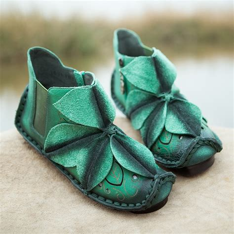 Handcrafted Leather Shoes - handmade flower applique leather shoes cw305035