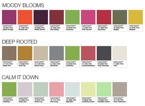 pantone color palette pantone color palettes 2017 moody blooms rooted