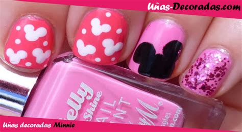 u as decoradas color rosa con negro unas decoradas dise 241 os de u 241 as decoradas de minnie mouse