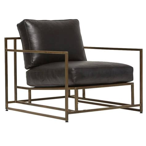 Exposition Design Black Leather Chair Los Angeles California Ahf04 Obsidian Black Leather And Antique Brass Armchair For Sale At 1stdibs