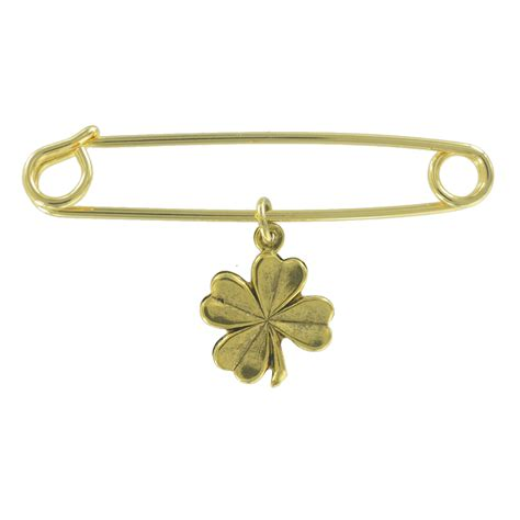 Azumi David Safety Pin Necklaces It Or It by Safety Pin Brooch Four Leaf Clover Luck Charm Made In