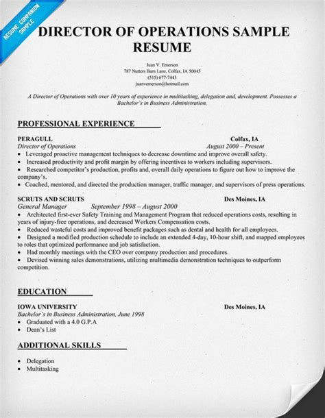 Sle Resume Of An Operations Manager 11 Director Of Operations Resume Director Of Operations Resume Sle Recentresumes Exle