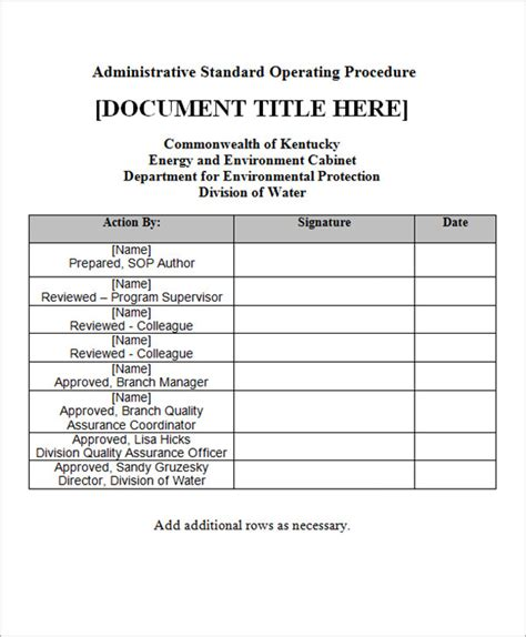 sop template free sle sop template 20 free documents in word pdf excel