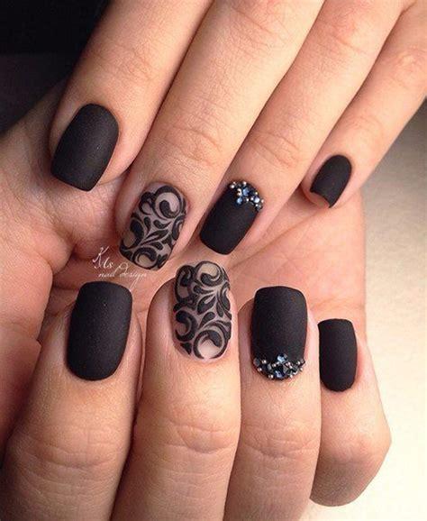 gel nail designs for middle aged women nail art u 241 as negras con destellos de brillo pinteres