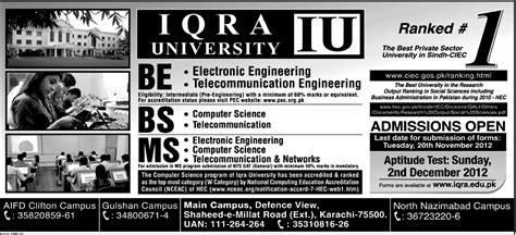 Courses Of Mba In Iqra by Iqra Karachi Admission 2012