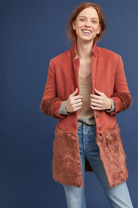 Anthropologie E Gift Card - faux fur trimmed tailored coat anthropologie