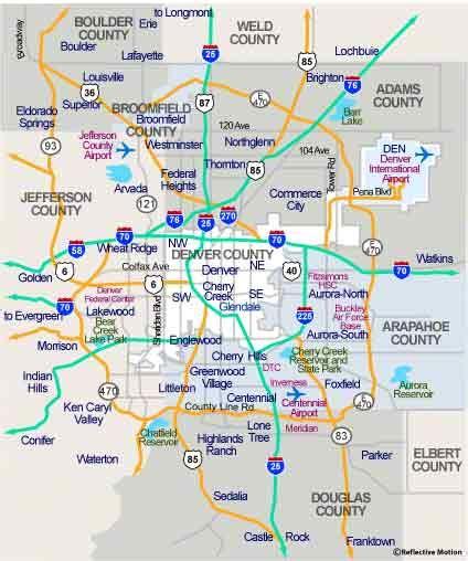 Denver Metro Area Map by Denver Map