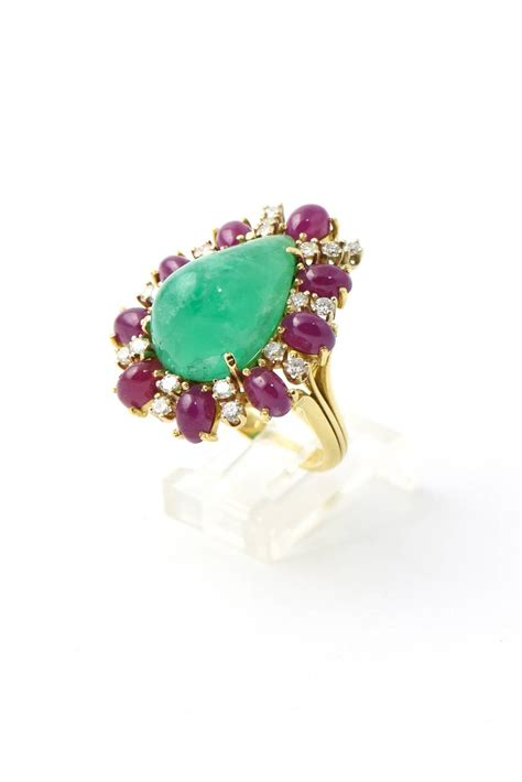 emerald ruby gold statement ring for sale at 1stdibs
