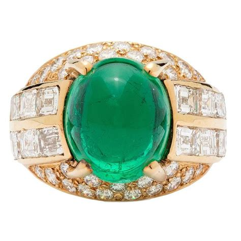 9 carat emerald cabochon gold ring 1980s at 1stdibs