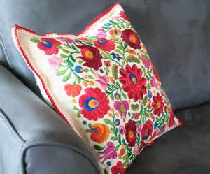 mexican embroidered pillow cover by vintagefoundnyc