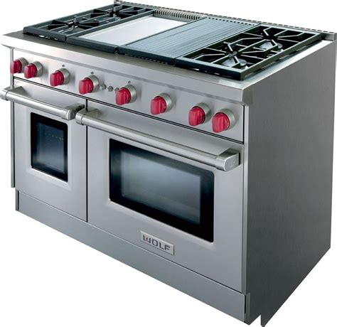wolf 48 gas range wolf gr484cg 48 inch pro style gas range with 4 dual stacked sealed burners charbroiler