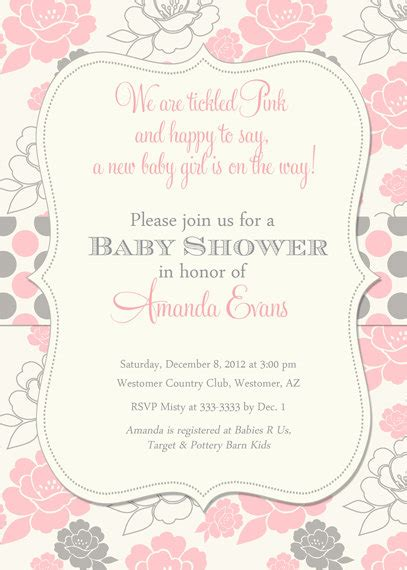 Pink Baby Shower Invitation Templates pink and grey baby shower invitations theruntime