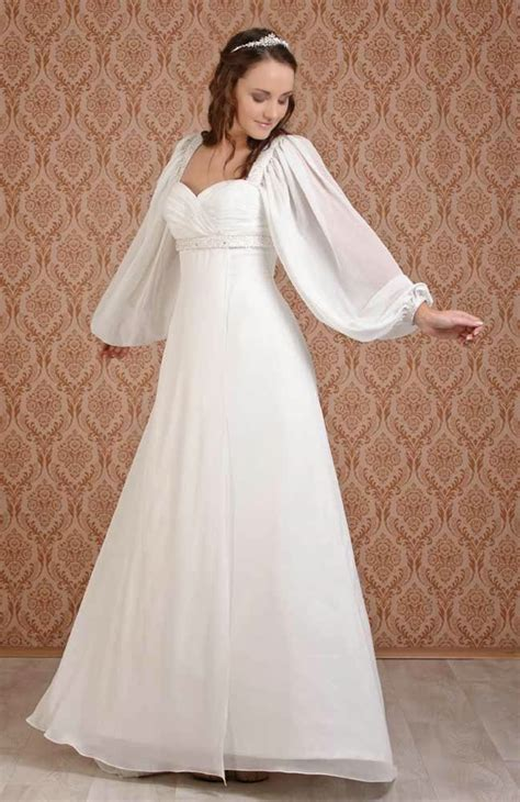 celtic wedding dresses with long sleeves usa