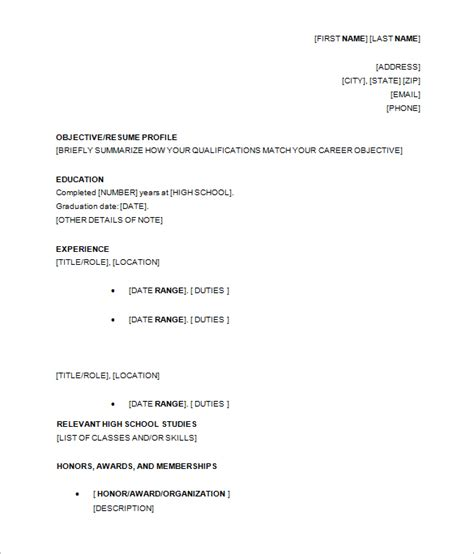 10  High School Resume Templates   Free PDF, WORD, PSD