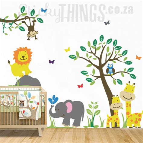 jungle nursery wall stickers safari jungle nursery wall sticker stickythings co za