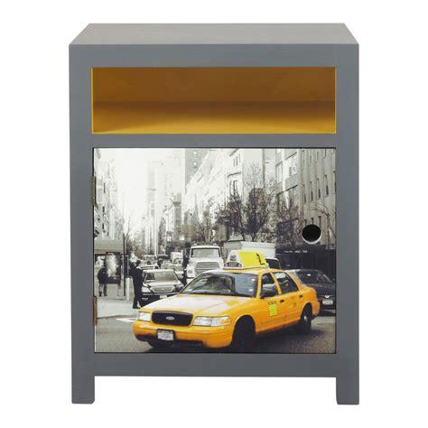 table de nuit new york table de chevet gris et jaune l 44 cm cab maisons du monde