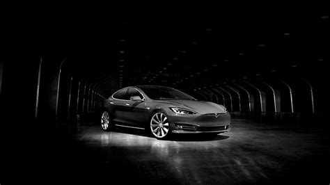 aq tesla model dark bw car wallpaper