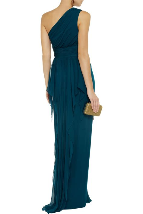 bariano draped shoulder gown lyst notte by marchesa one shoulder draped silk gown in