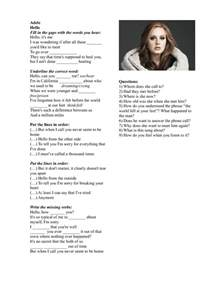 song worksheet hello by adele