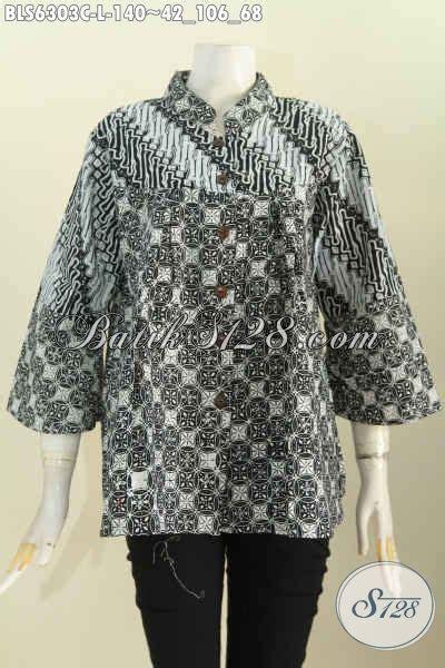 Baju Santai Monokrom jual baju batik motif unik blus batik monokrom kerah shanghai yang modis buat santai dan resmi