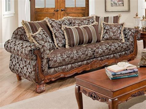 Textured Fabric Traditional Living Room W Carved Wood Accents Carved Wood Living Room Furniture
