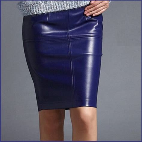 royal blue style faux patent leather knee length