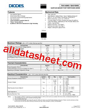 diodes inc b140 13 f 1n4148ws 13 f 데이터시트 pdf diodes incorporated