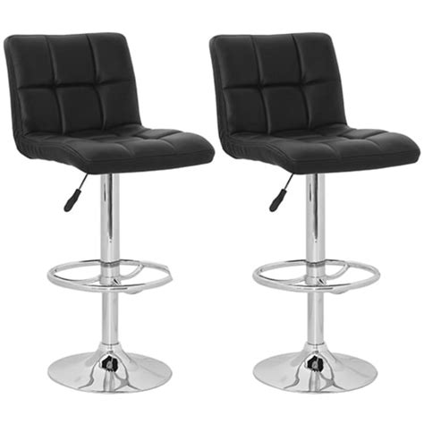 Bar Stool With Backrest Set Of 2 Black Armless Bar Stool With High Backrest Vidaxl