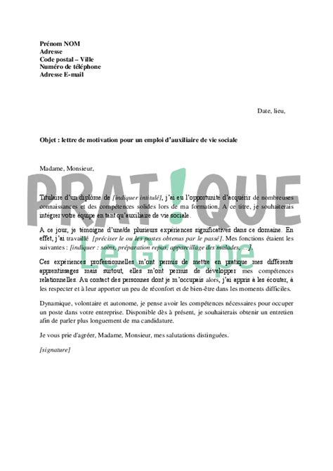Exemple De Lettre De Motivation Avs Exemple Lettre Motivation Avs