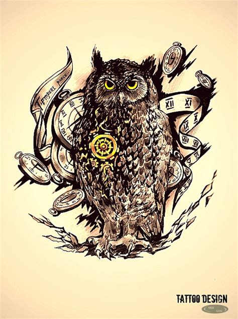 tattoo owl time tattoo design the master of time by dziu09 on deviantart