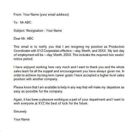 free sle letter of resignation template resignation email template 6 documents in pdf