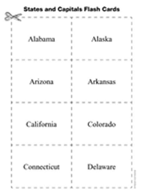 printable flash cards united states united states and capitals flash cards geography