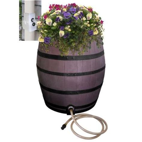 Rescue 50 Gal Brown Flat Back Whiskey Rain Barrel With Home Depot Whiskey Barrel Planters