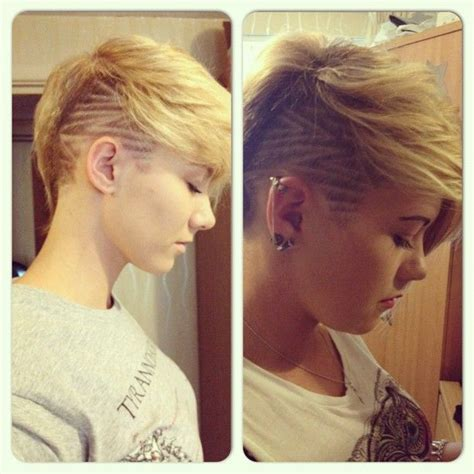 extension in shaved back and side hair both sides of a one side shave pixie google search