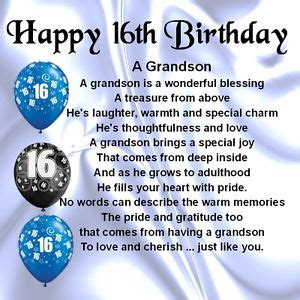 16th Birthday Quotes Personalised Coaster Grandson Poem 16th Birthday