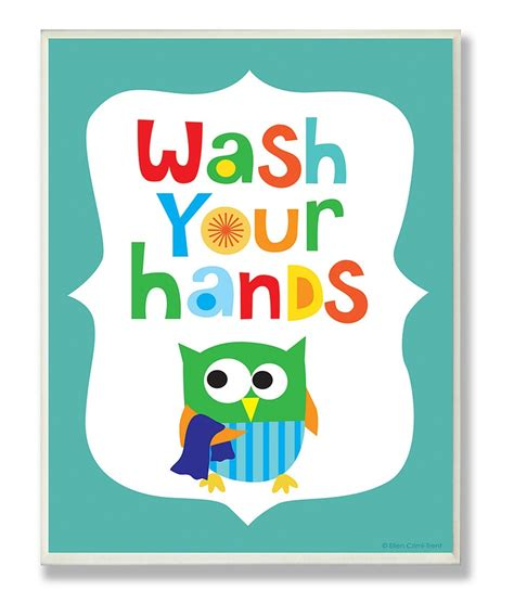 Blue 'Wash Your Hands' Wall Art cute in kids bathroom Ideas for Kids Pinterest