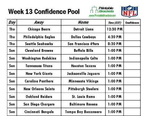printable nfl schedule week 13 nfl confidence pool week 13 football confidence pool week 13