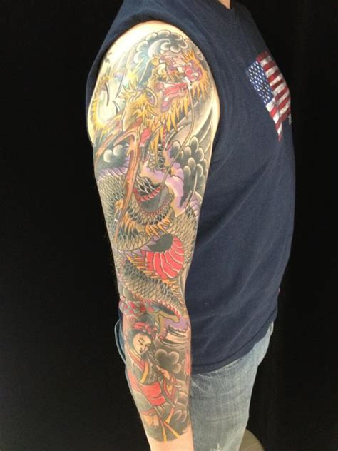 tattoo golden dragon dragon sleeve by dustin golden tattoos