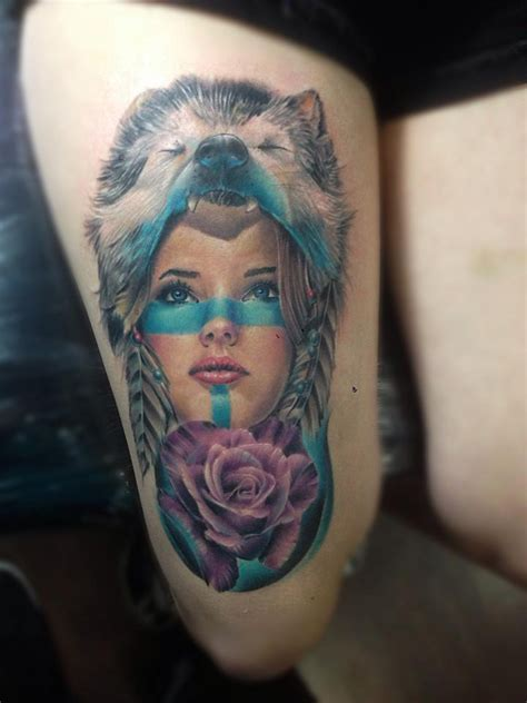wolf tattoo girl indian with wolf www pixshark images