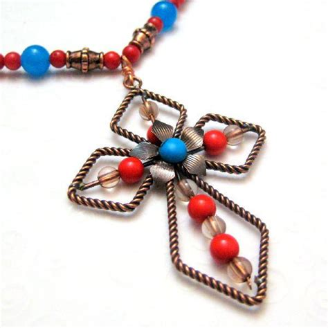 Handmade Cross Necklaces - turquoise orange and copper handmade cross necklace