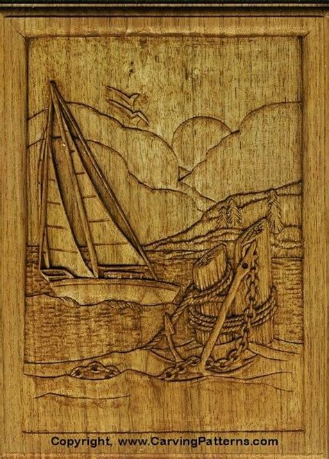 wood carving patterns sailboat relief wood carving