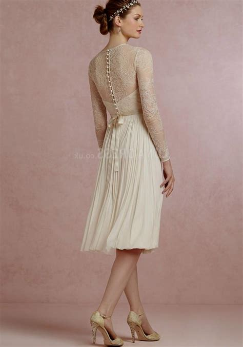 Knee Length Wedding Dresses by Knee Length Wedding Dresses With Lace Sleeves Naf Dresses