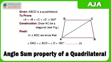 Quadrilateral Sum Of Interior Angles by Angle Sum Property Of A Quadrilateral
