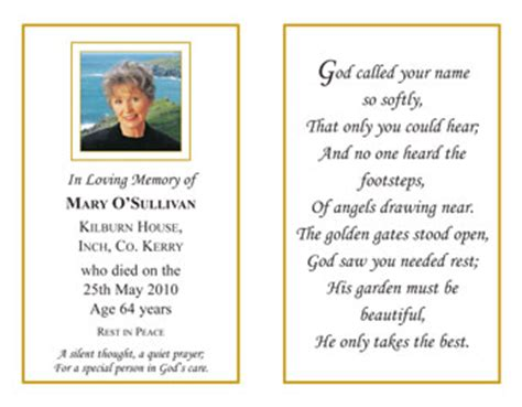 in memoriam cards template remembrance cards for funeral funeral order of service