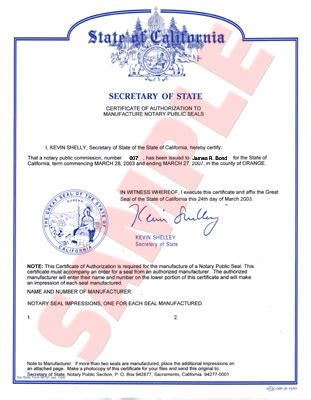 california secretary of state notary public section notary certificate requirements ordering