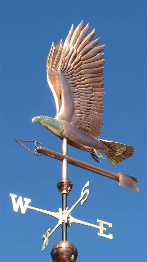 Handmade Weathervanes - flying bald eagle weathervane handmade in copper