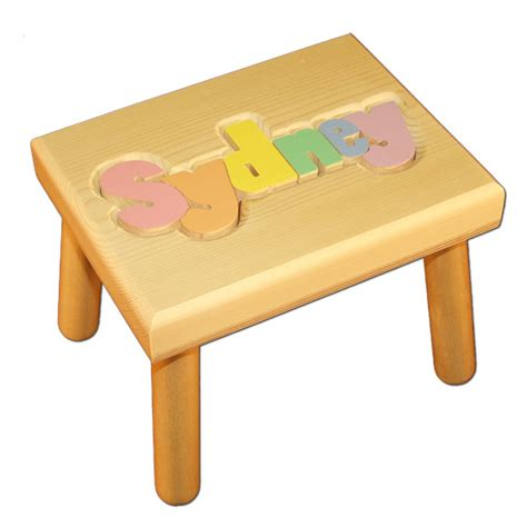 Personalized Name Stools by Personalized Name Puzzle Stool With Pastel Colors